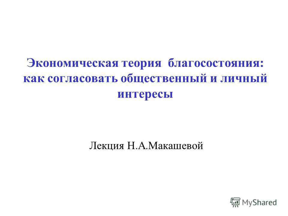 Экономическая теория благосостояния: как согласовать общественный и личный интересы Лекция Н.А.Макашевой