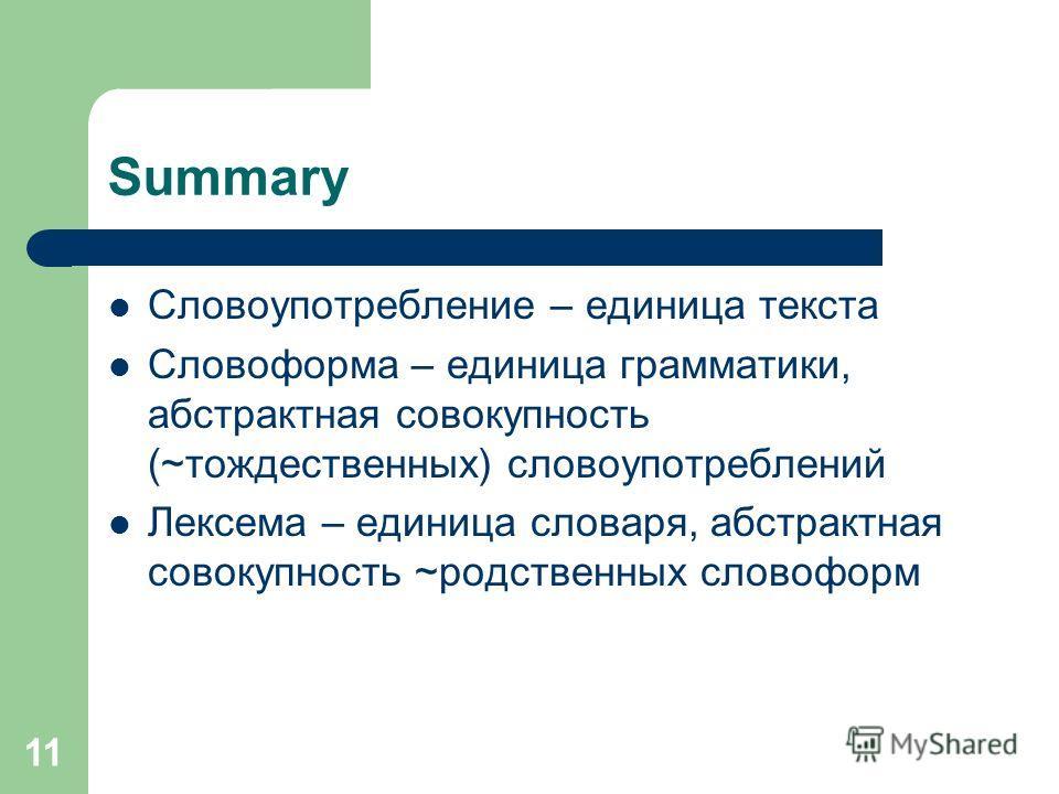 11 Summary Словоупотребление – единица текста Словоформа – единица грамматики, абстрактная совокупность (~тождественных) словоупотреблений Лексема – единица словаря, абстрактная совокупность ~родственных словоформ