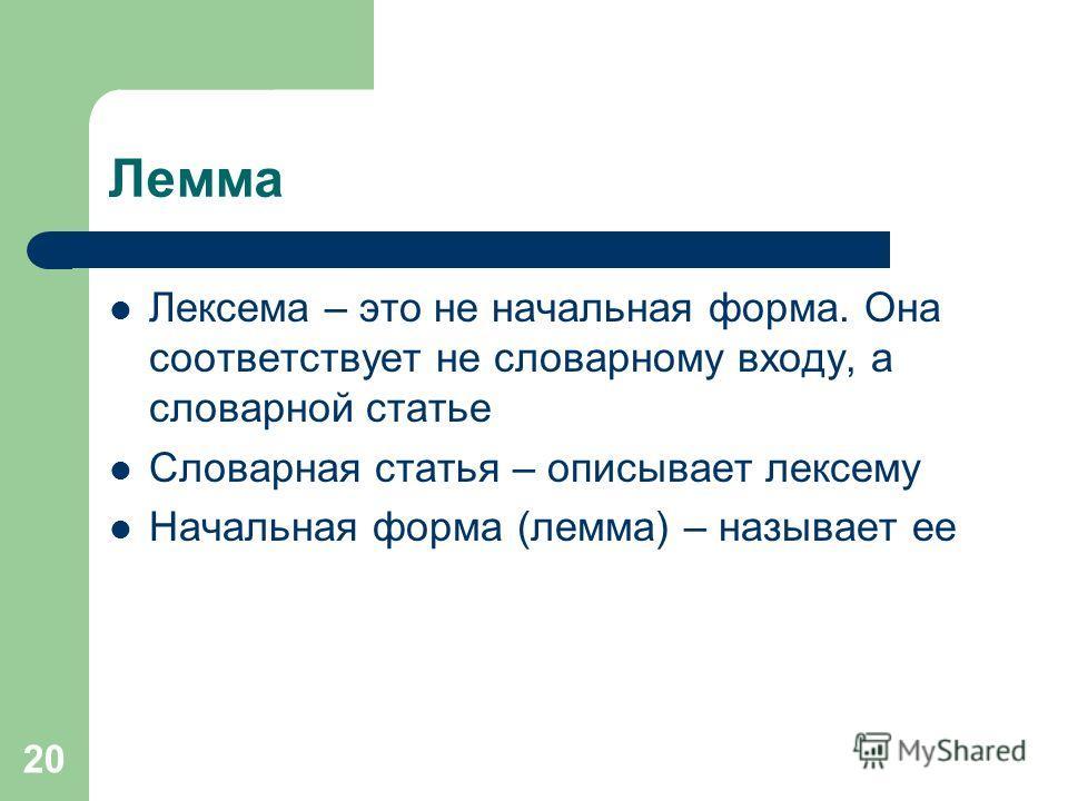 20 Лемма Лексема – это не начальная форма. Она соответствует не словарному входу, а словарной статье Словарная статья – описывает лексему Начальная форма (лемма) – называет ее