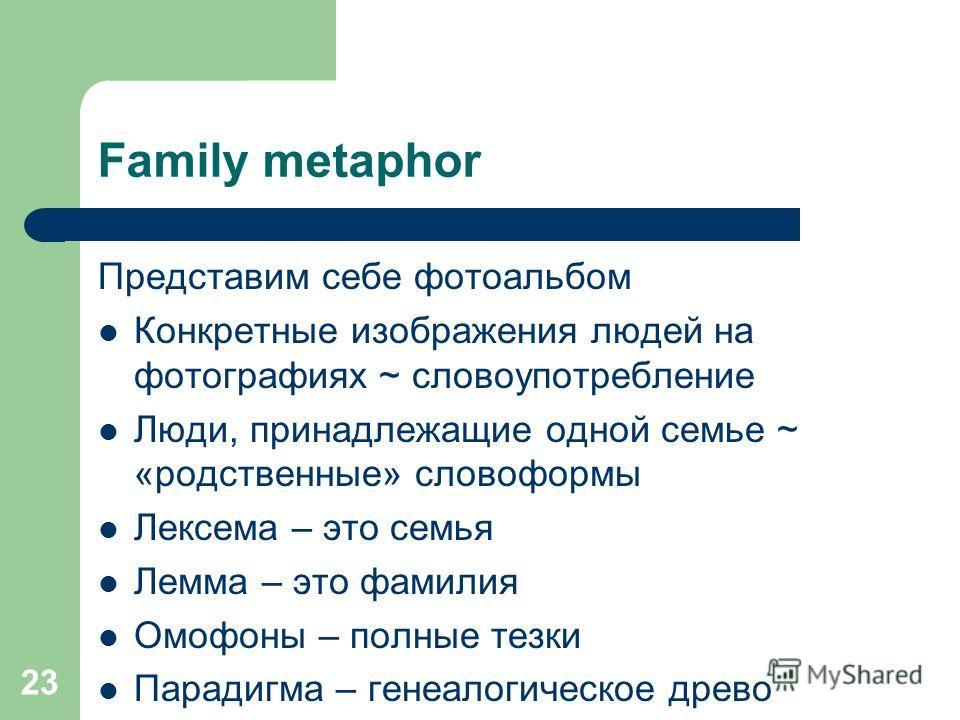 23 Family metaphor Представим себе фотоальбом Конкретные изображения людей на фотографиях ~ словоупотребление Люди, принадлежащие одной семье ~ «родственные» словоформы Лексема – это семья Лемма – это фамилия Омофоны – полные тезки Парадигма – генеал