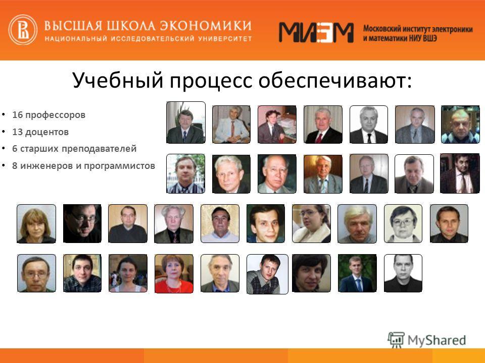 Учебный процесс обеспечивают: 16 профессоров 13 доцентов 6 старших преподавателей 8 инженеров и программистов