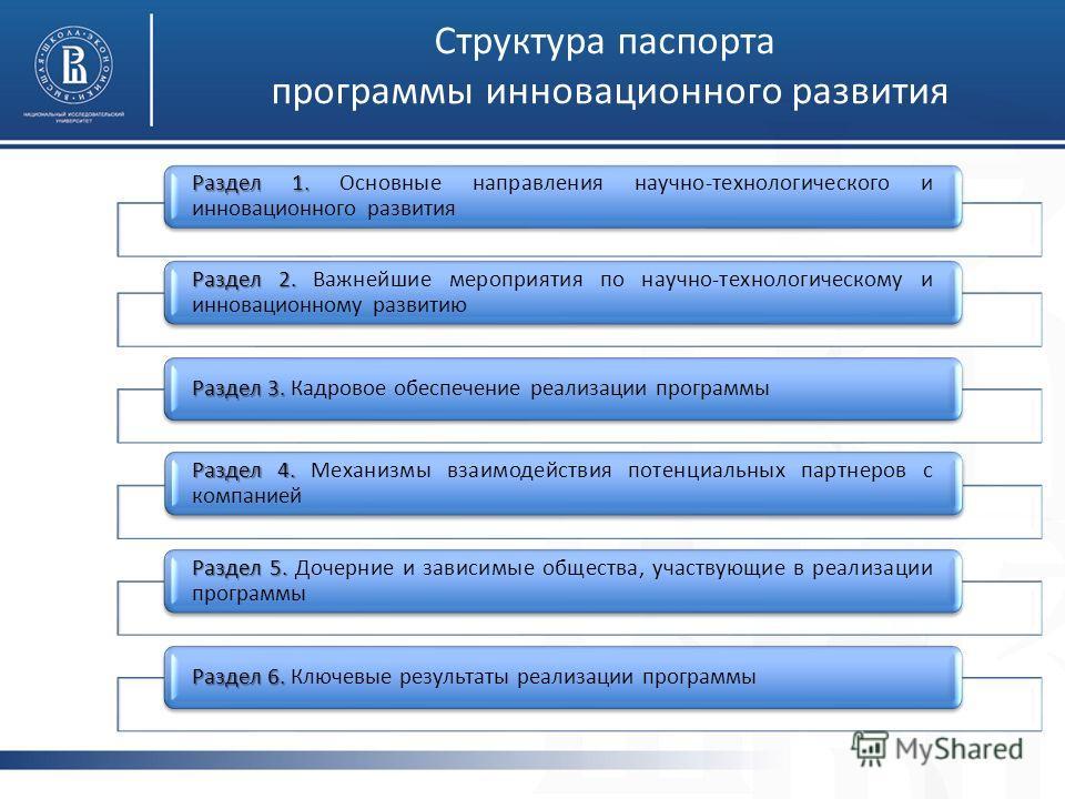 Раздел 1. Раздел 1. Основные направления научно-технологического и инновационного развития Раздел 2. Раздел 2. Важнейшие мероприятия по научно-технологическому и инновационному развитию Раздел 3. Раздел 3. Кадровое обеспечение реализации программы Ра