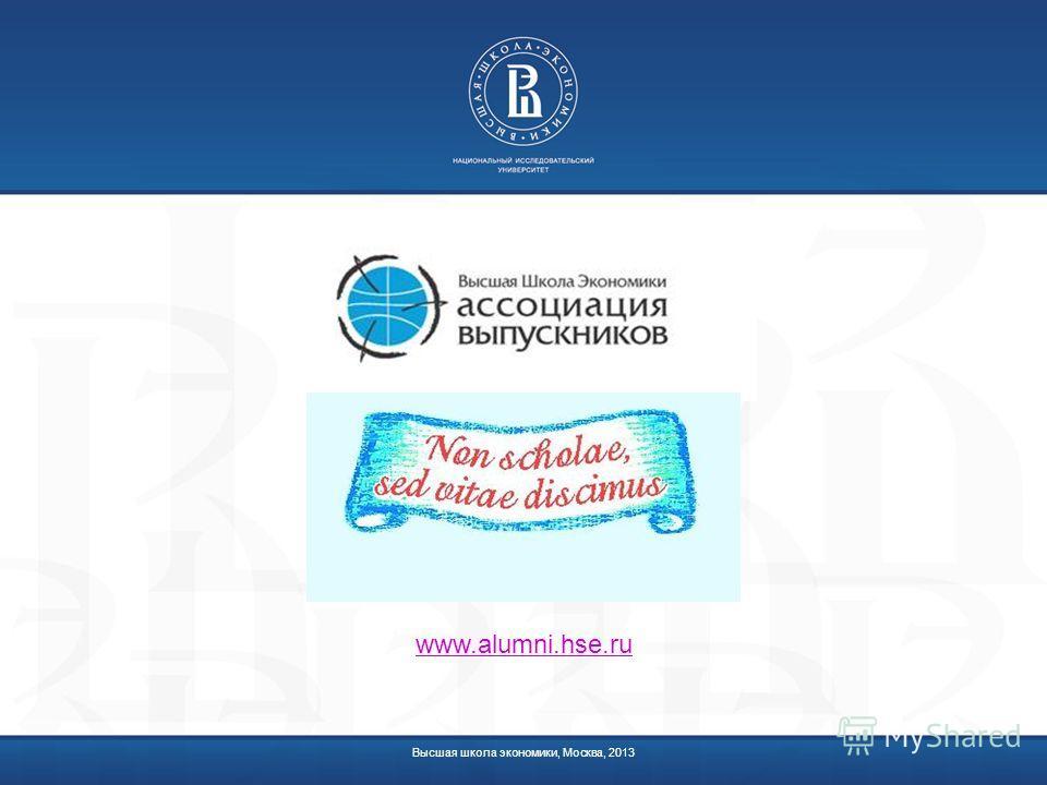 Высшая школа экономики, Москва, 2013 www.alumni.hse.ru