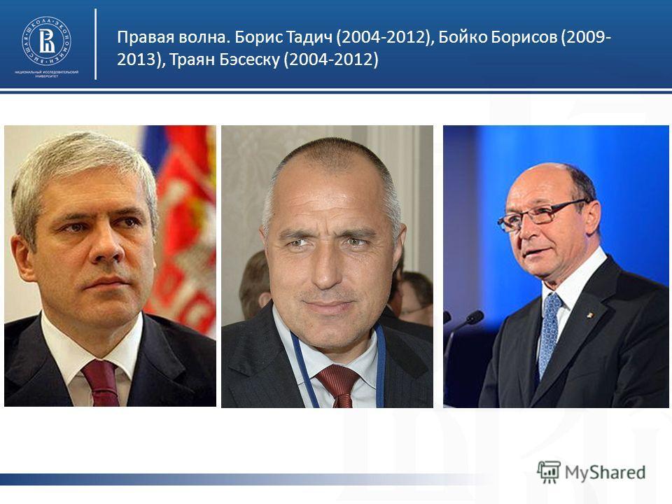 Правая волна. Борис Тадич (2004-2012), Бойко Борисов (2009- 2013), Траян Бэсеску (2004-2012)
