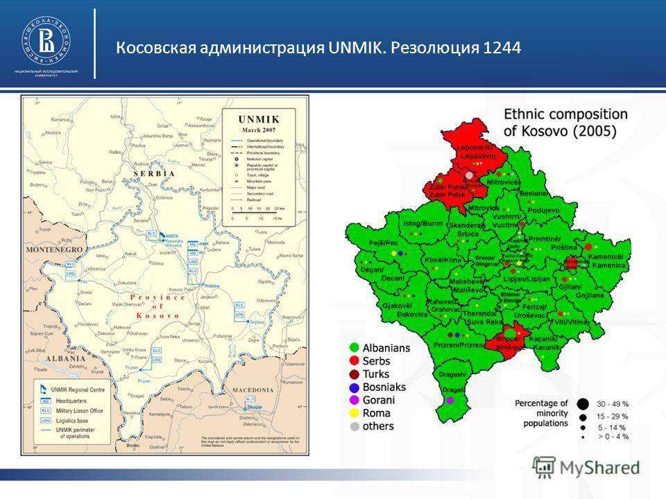 Косовская администрация UNMIK. Резолюция 1244