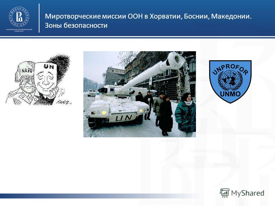 Миротворческие миссии ООН в Хорватии, Боснии, Македонии. Зоны безопасности