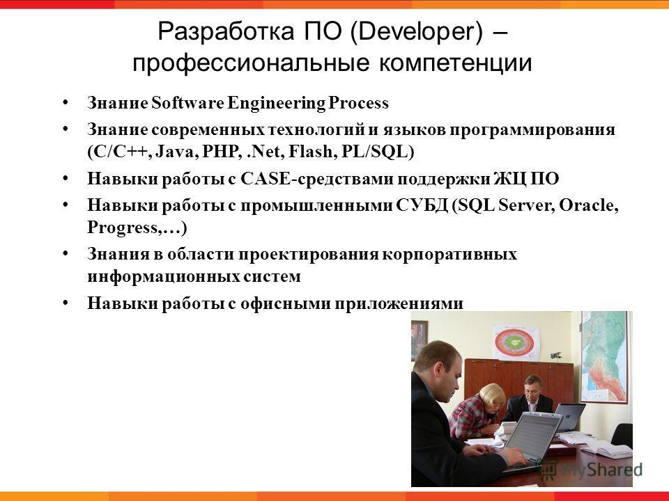 Разработка ПО (Developer) – профессиональные компетенции 14 Знание Software Engineering Process Знание современных технологий и языков программирования (С/С++, Java, PHP,.Net, Flash, PL/SQL) Навыки работы с CASE-средствами поддержки ЖЦ ПО Навыки рабо