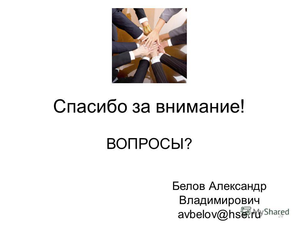 Спасибо за внимание! 20 ВОПРОСЫ? Белов Александр Владимирович avbelov@hse.ru