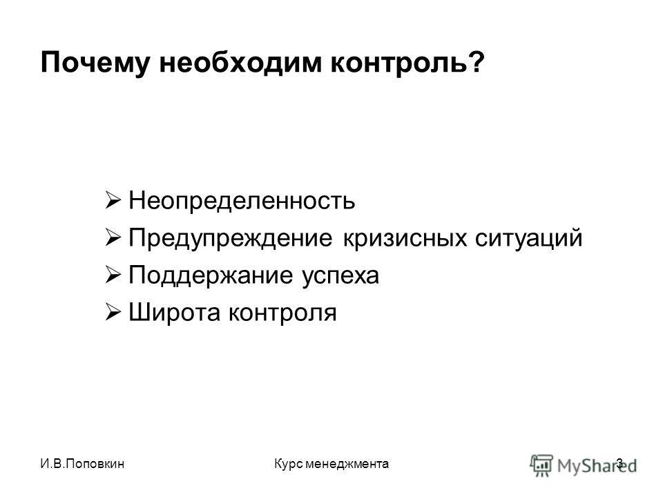 И.В.ПоповкинКурс менеджмента3 Почему необходим контроль? Неопределенность Предупреждение кризисных ситуаций Поддержание успеха Широта контроля