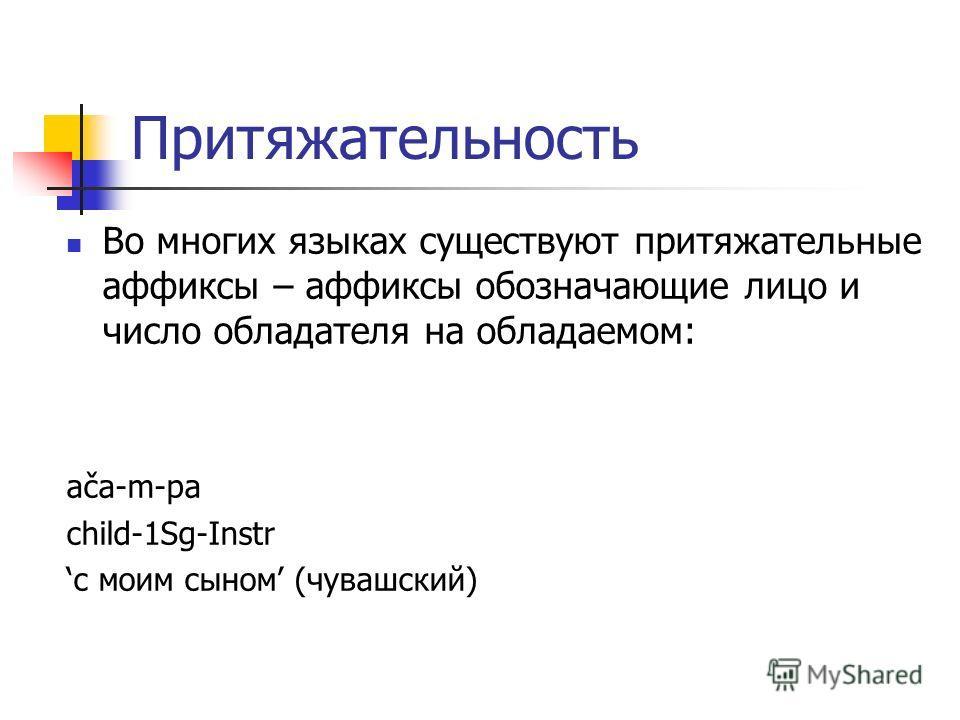 Притяжательность Во многих языках существуют притяжательные аффиксы – аффиксы обозначающие лицо и число обладателя на обладаемом: ača-m-pa child-1Sg-Instr с моим сыном (чувашский)