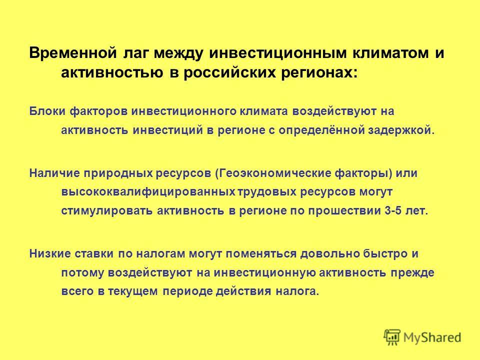 Временной лаг между инвестиционным климатом и активностью в российских регионах: Блоки факторов инвестиционного климата воздействуют на активность инвестиций в регионе с определённой задержкой. Наличие природных ресурсов (Геоэкономические факторы) ил