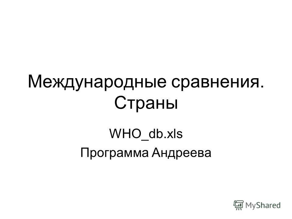 Международные сравнения. Страны WHO_db.xls Программа Андреева