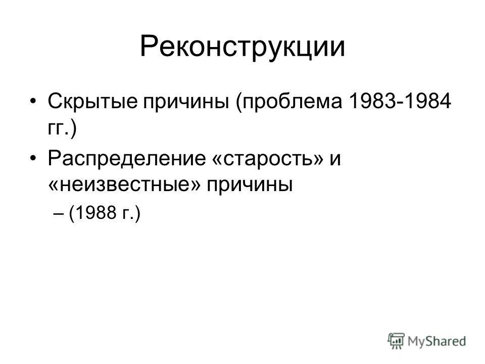 Реконструкции Скрытые причины (проблема 1983-1984 гг.) Распределение «старость» и «неизвестные» причины –(1988 г.)