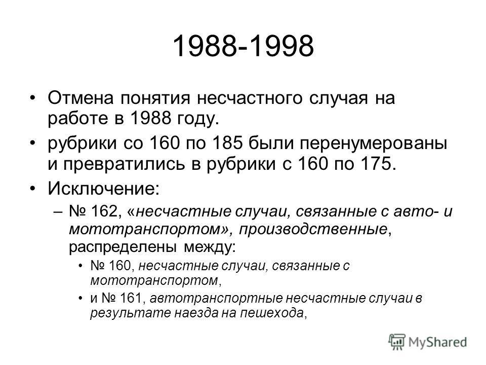 1988-1998 Отмена понятия несчастного случая на работе в 1988 году. рубрики со 160 по 185 были перенумерованы и превратились в рубрики с 160 по 175. Исключение: – 162, «несчастные случаи, связанные с авто- и мототранспортом», производственные, распред