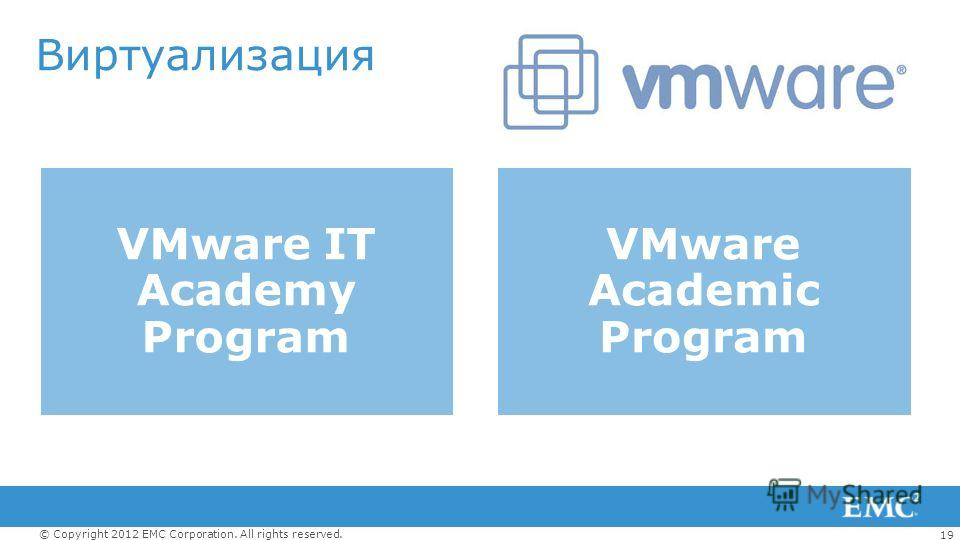 19 © Copyright 2012 EMC Corporation. All rights reserved. Виртуализация VMware IT Academy Program VMware Academic Program