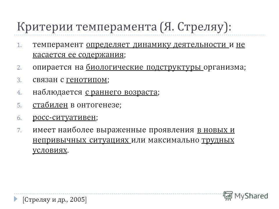 Критерии темперамента ( Я. Стреляу ): 1. темперамент определяет динамику деятельности и не касается ее содержания ; 2. опирается на биологические подструктуры организма ; 3. связан с генотипом ; 4. наблюдается с раннего возраста ; 5. стабилен в онтог