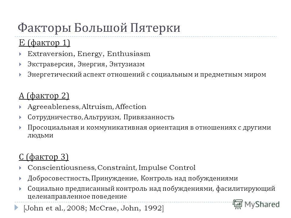 Факторы Большой Пятерки E ( фактор 1) Extraversion, Energy, Enthusiasm Экстраверсия, Энергия, Энтузиазм Энергетический аспект отношений с социальным и предметным миром А ( фактор 2) Agreeableness, Altruism, Affection Сотрудничество, Альтруизм, Привяз