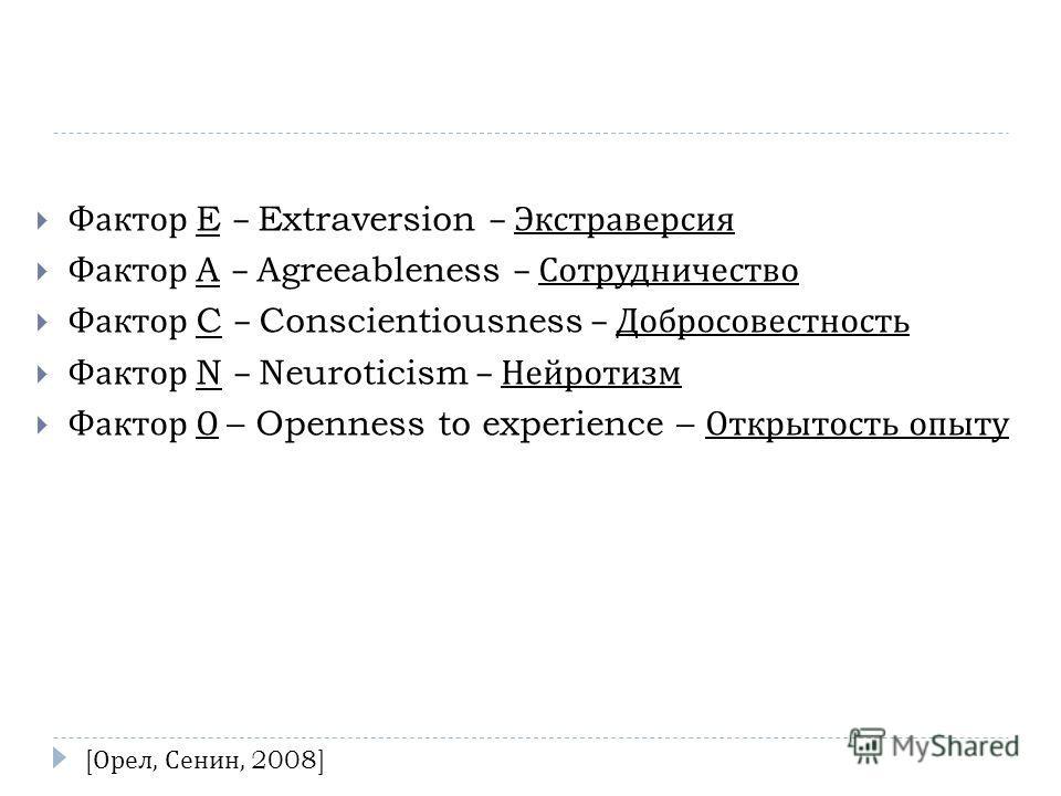 Фактор E – Extraversion – Экстраверсия Фактор A – Agreeableness – Сотрудничество Фактор C – Conscientiousness – Добросовестность Фактор N – Neuroticism – Нейротизм Фактор О – Openness to experience – Открытость опыту [ Орел, Сенин, 2008]