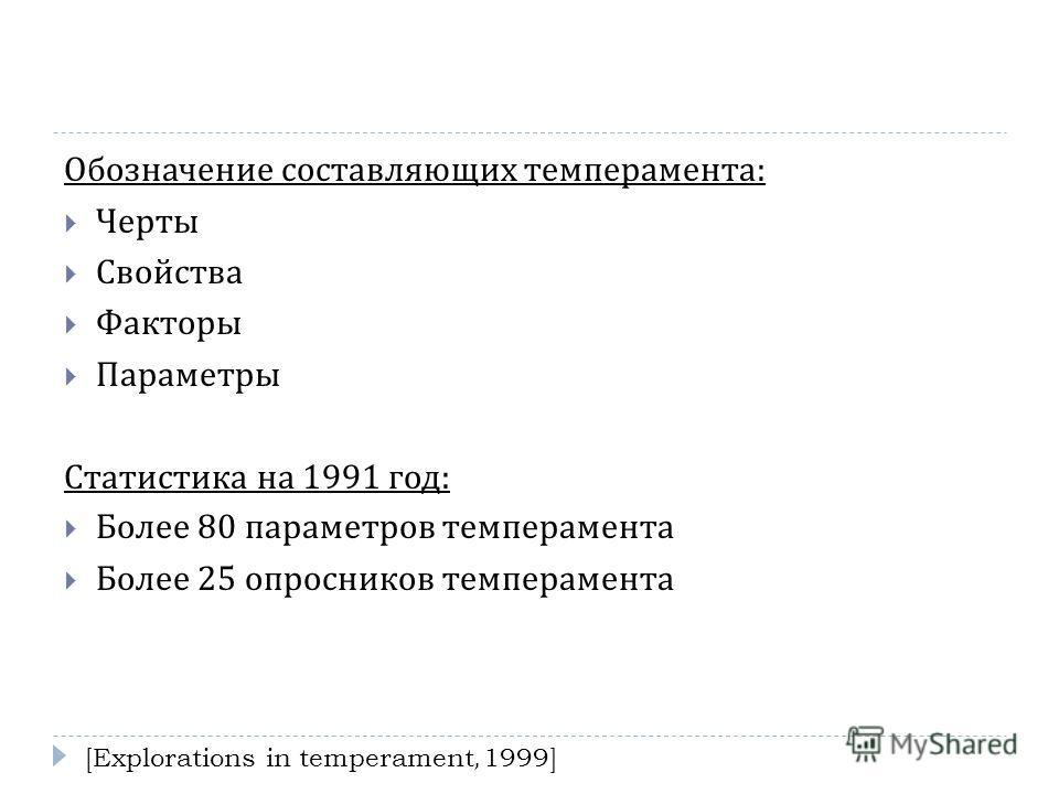 Обозначение составляющих темперамента : Черты Свойства Факторы Параметры Статистика на 1991 год : Более 80 параметров темперамента Более 25 опросников темперамента [Explorations in temperament, 1999]