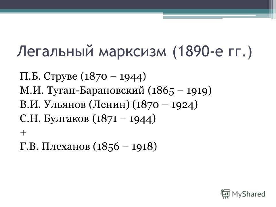 Легальный марксизм (1890-е гг.) П.Б. Струве (1870 – 1944) М.И. Туган-Барановский (1865 – 1919) В.И. Ульянов (Ленин) (1870 – 1924) С.Н. Булгаков (1871 – 1944) + Г.В. Плеханов (1856 – 1918)