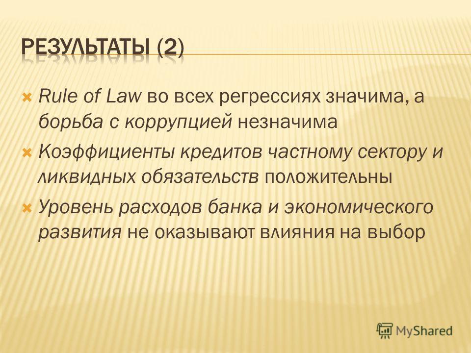 Rule of Law во всех регрессиях значима, а борьба с коррупцией незначима Коэффициенты кредитов частному сектору и ликвидных обязательств положительны Уровень расходов банка и экономического развития не оказывают влияния на выбор