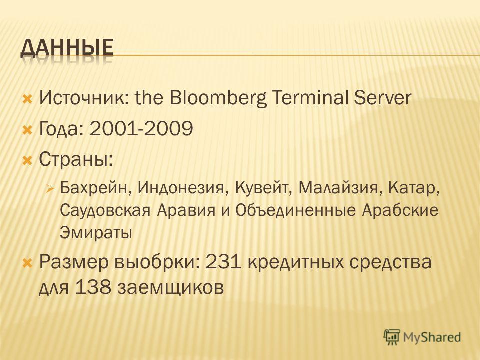Источник: the Bloomberg Terminal Server Года: 2001-2009 Страны: Бахрейн, Индонезия, Кувейт, Малайзия, Катар, Саудовская Аравия и Объединенные Арабские Эмираты Размер выобрки: 231 кредитных средства для 138 заемщиков