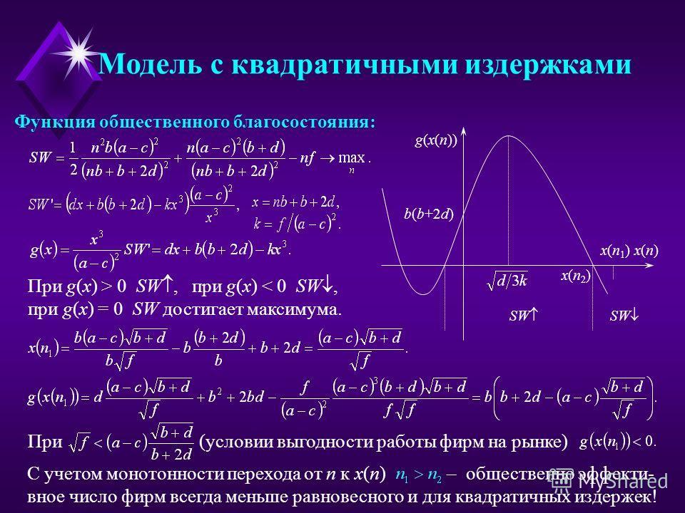 Функция общественного благосостояния: При g(x) > 0 SW, при g(x) < 0 SW, при g(x) = 0 SW достигает максимума. При (условии выгодности работы фирм на рынке) С учетом монотонности перехода от n к x(n) – общественно эффекти- вное число фирм всегда меньше