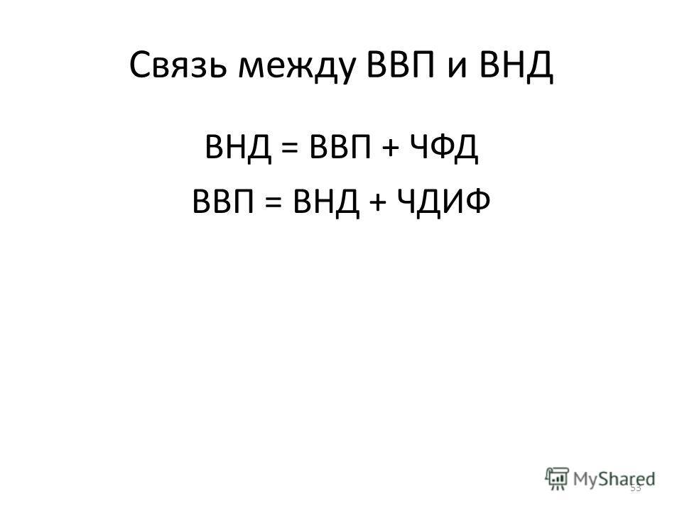 Связь между ВВП и ВНД ВНД = ВВП + ЧФД ВВП = ВНД + ЧДИФ 53
