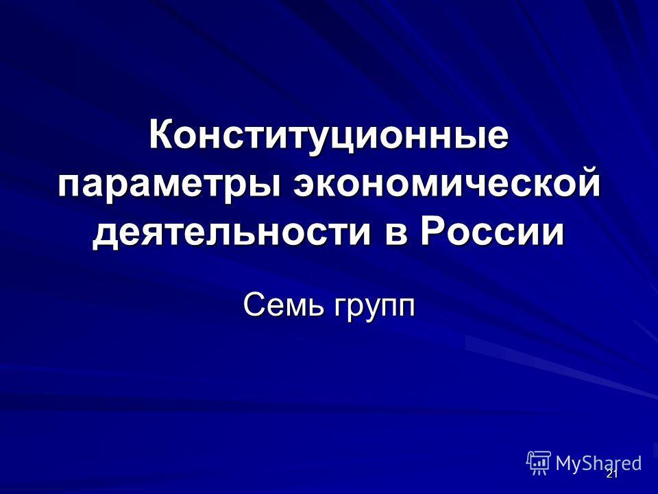 21 Конституционные параметры экономической деятельности в России Семь групп