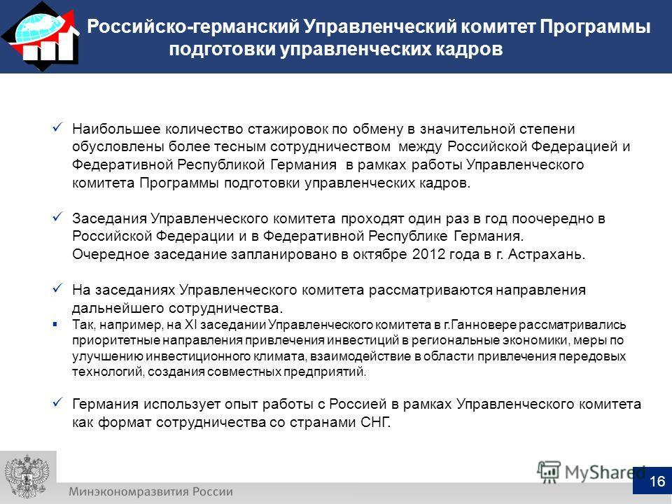 Российско-германский Управленческий комитет Программы подготовки управленческих кадров 16 Наибольшее количество стажировок по обмену в значительной степени обусловлены более тесным сотрудничеством между Российской Федерацией и Федеративной Республико