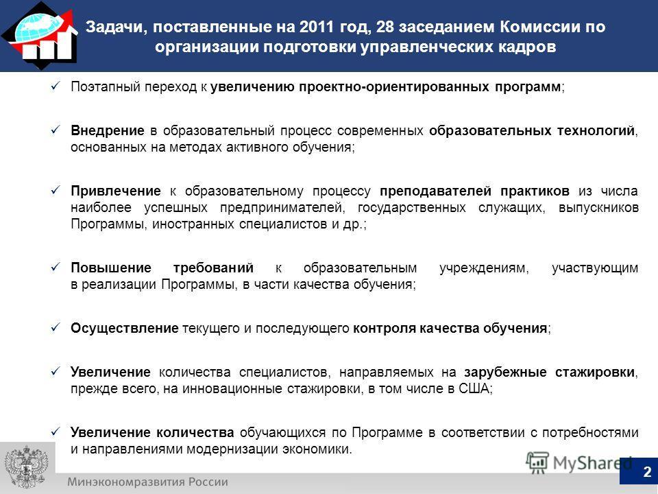 Задачи, поставленные на 2011 год, 28 заседанием Комиссии по организации подготовки управленческих кадров Поэтапный переход к увеличению проектно-ориентированных программ; Внедрение в образовательный процесс современных образовательных технологий, осн