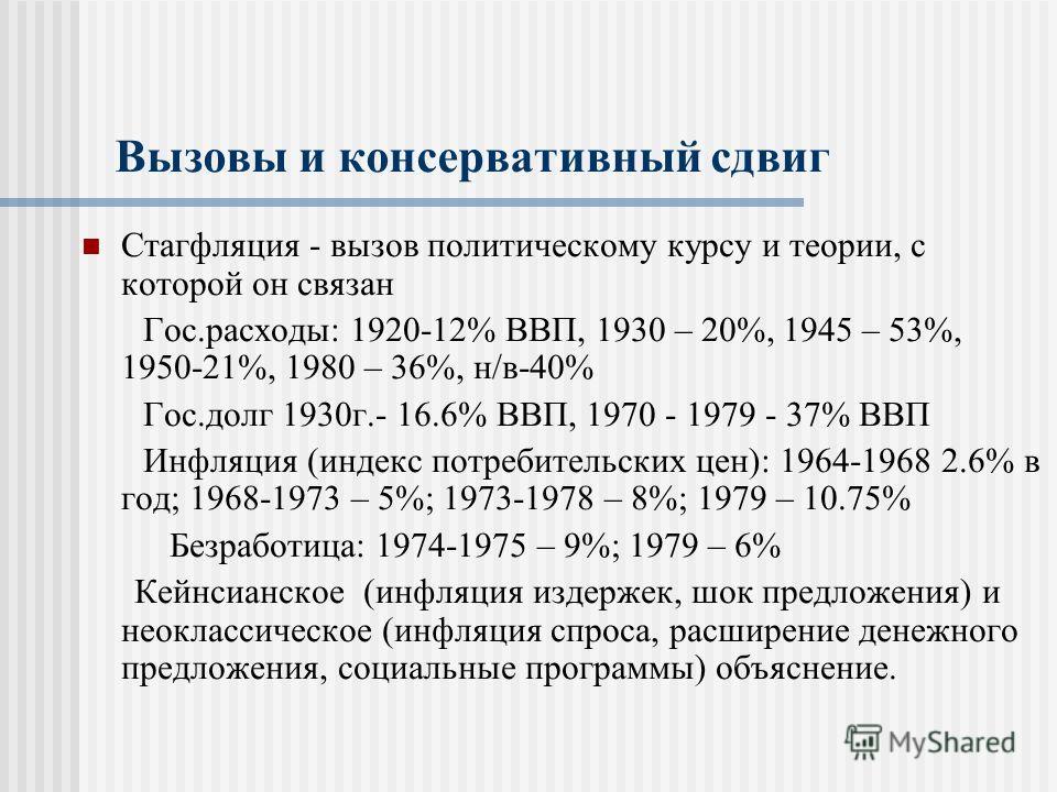 Вызовы и консервативный сдвиг Стагфляция - вызов политическому курсу и теории, с которой он связан Гос.расходы: 1920-12% ВВП, 1930 – 20%, 1945 – 53%, 1950-21%, 1980 – 36%, н/в-40% Гос.долг 1930г.- 16.6% ВВП, 1970 - 1979 - 37% ВВП Инфляция (индекс пот