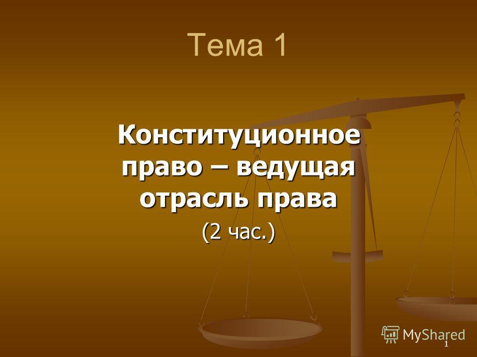 1 Тема 1 Конституционное право – ведущая отрасль права (2 час.)
