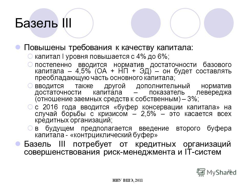 33 Базель III Повышены требования к качеству капитала: капитал I уровня повышается с 4% до 6%; постепенно вводится норматив достаточности базового капитала – 4,5% (ОА + НП + ЭД) – он будет составлять преобладающую часть основного капитала; вводится т