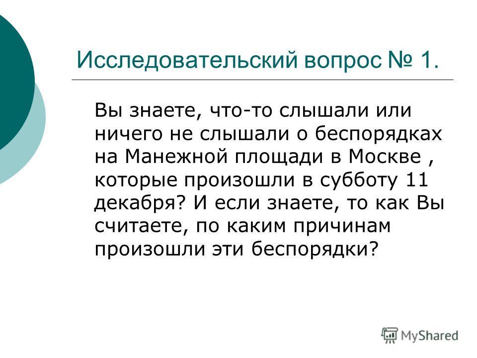 Исследовательский вопрос 1. Вы знаете, что-то слышали или ничего не слышали о беспорядках на Манежной площади в Москве, которые произошли в субботу 11 декабря? И если знаете, то как Вы считаете, по каким причинам произошли эти беспорядки?