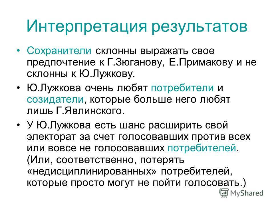 Интерпретация результатов Сохранители склонны выражать свое предпочтение к Г.Зюганову, Е.Примакову и не склонны к Ю.Лужкову. Ю.Лужкова очень любят потребители и созидатели, которые больше него любят лишь Г.Явлинского. У Ю.Лужкова есть шанс расширить