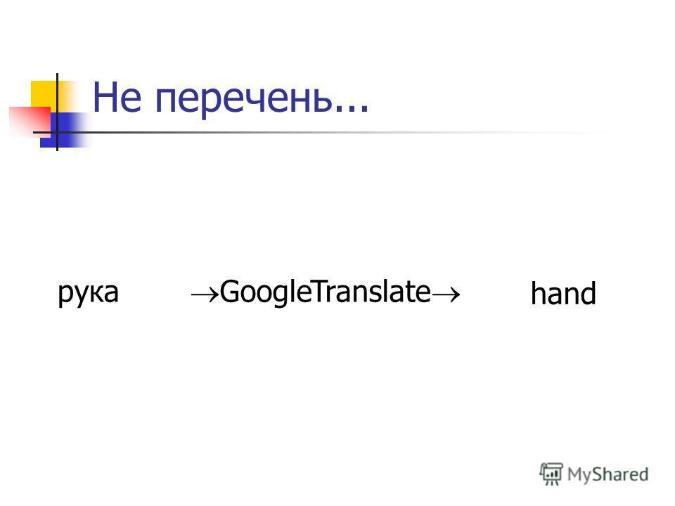 Не перечень... рука hand GoogleTranslate