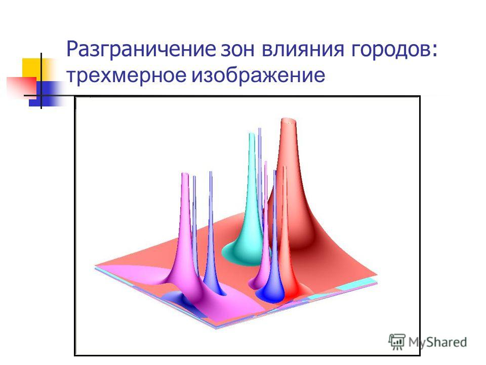 Разграничение зон влияния городов: трехмерное изображение