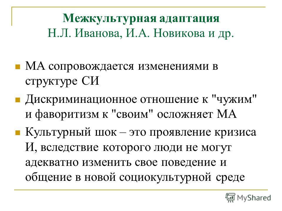Межкультурная адаптация Н.Л. Иванова, И.А. Новикова и др. МА сопровождается изменениями в структуре СИ Дискриминационное отношение к