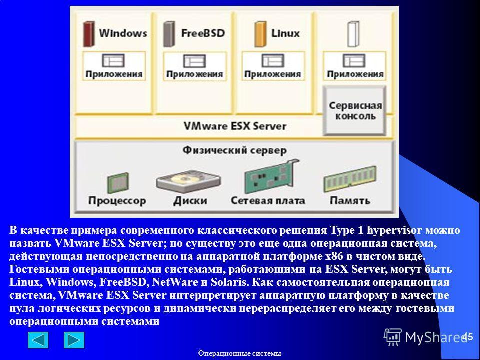 Операционные системы 45 В качестве примера современного классического решения Type 1 hypervisor можно назвать VMware ESX Server; по существу это еще одна операционная система, действующая непосредственно на аппаратной платформе x86 в чистом виде. Гос