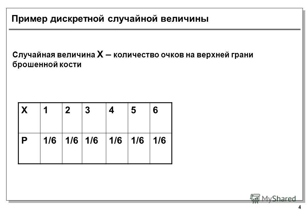 4 Пример дискретной случайной величины Случайная величина X – количество очков на верхней грани брошенной кости X123456 P1/6