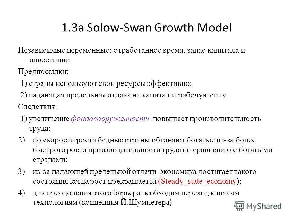 1.3a Solow-Swan Growth Model Независимые переменные: отработанное время, запас капитала и инвестиции. Предпосылки: 1) страны используют свои ресурсы эффективно; 2) падающая предельная отдача на капитал и рабочую силу. Следствия: 1) увеличение фондово