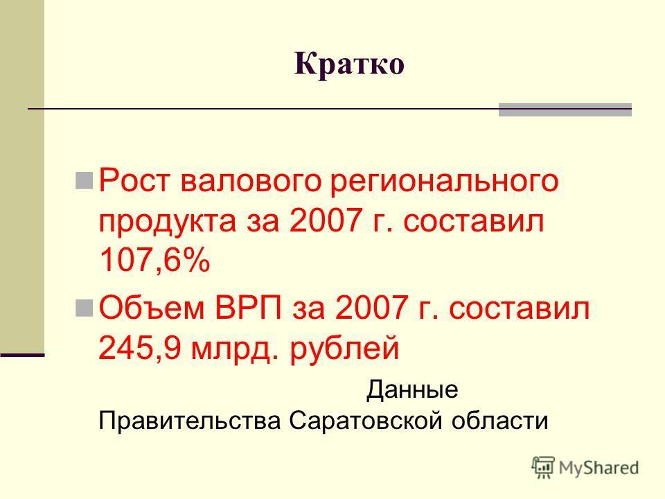 Кратко Рост валового регионального продукта за 2007 г. составил 107,6% Объем ВРП за 2007 г. составил 245,9 млрд. рублей Данные Правительства Саратовской области