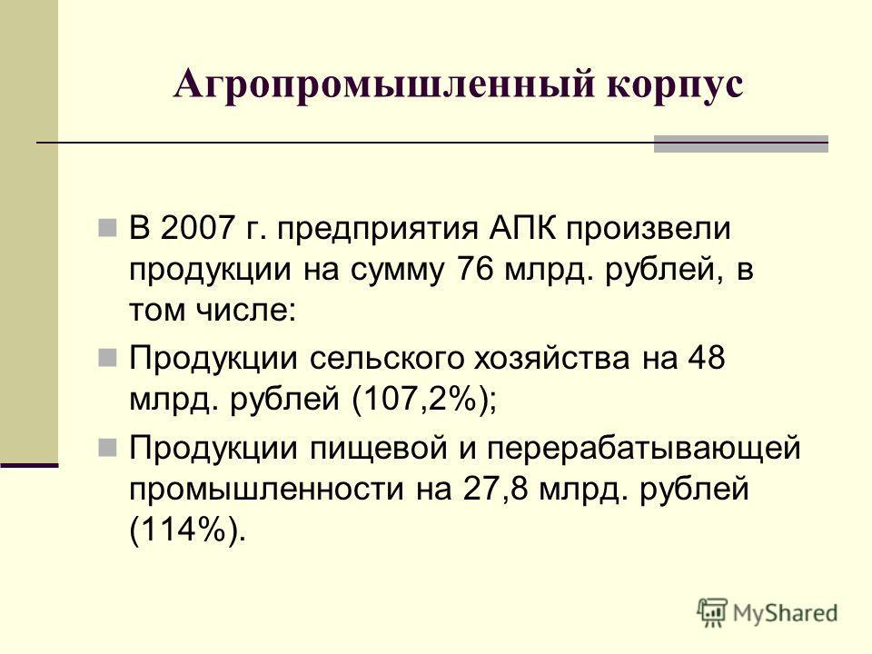 Агропромышленный корпус В 2007 г. предприятия АПК произвели продукции на сумму 76 млрд. рублей, в том числе: Продукции сельского хозяйства на 48 млрд. рублей (107,2%); Продукции пищевой и перерабатывающей промышленности на 27,8 млрд. рублей (114%).