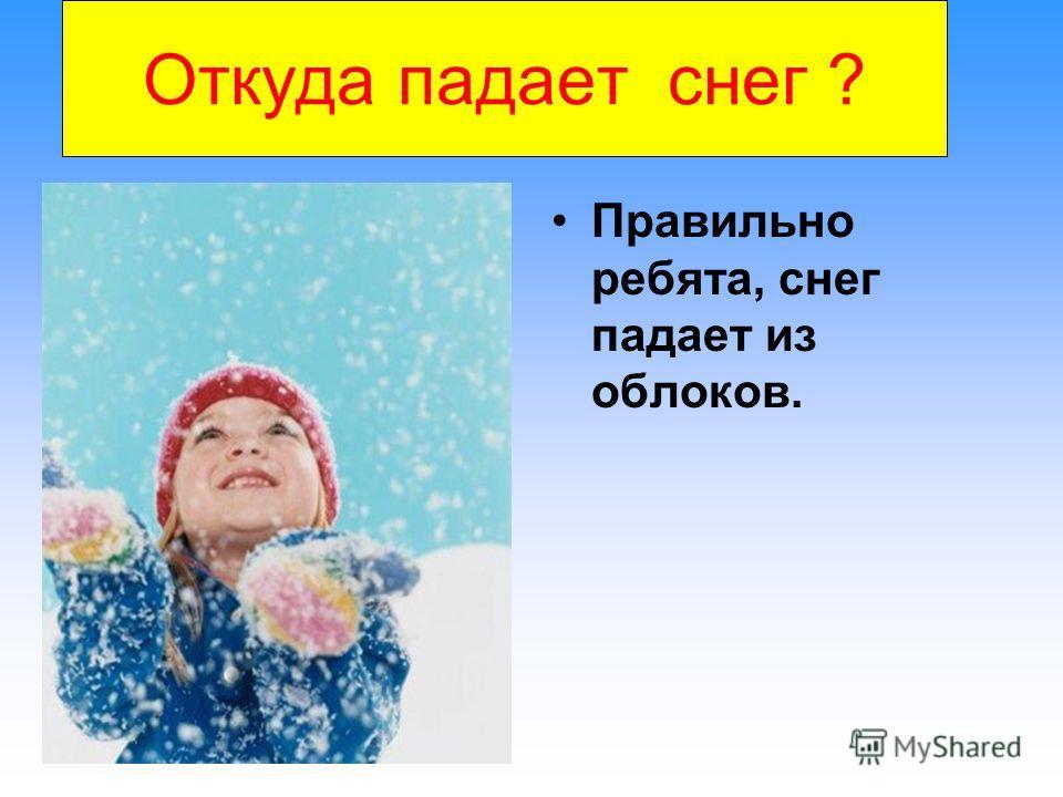 Откуда падает снег ? Правильно ребята, снег падает из облоков.