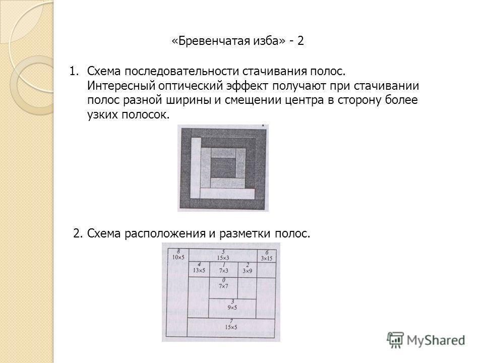 «Бревенчатая изба» - 2 1.Схема последовательности стачивания полос. Интересный оптический эффект получают при стачивании полос разной ширины и смещении центра в сторону более узких полосок. 2. Схема расположения и разметки полос.