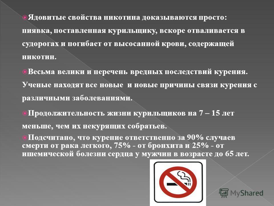 Ядовитые свойства никотина доказываются просто: пиявка, поставленная курильщику, вскоре отваливается в судорогах и погибает от высосанной крови, содержащей никотин. Весьма велики и перечень вредных последствий курения. Ученые находят все новые и новы