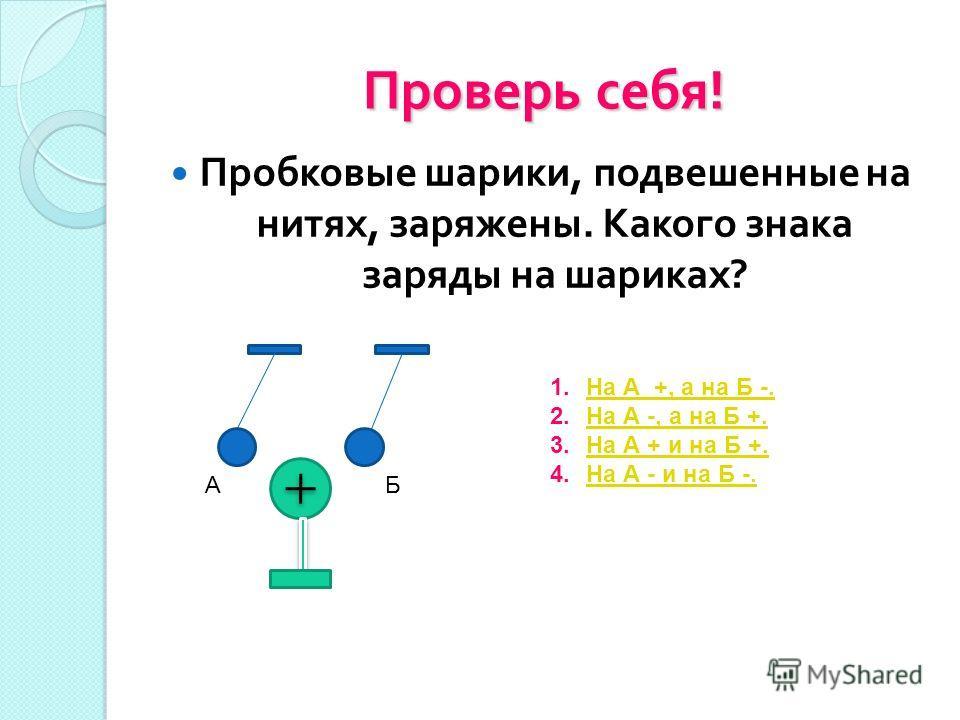 Проверь себя ! Пробковые шарики, подвешенные на нитях, заряжены. Какого знака заряды на шариках ? АБ 1.На А +, а на Б -.На А +, а на Б -. 2.На А -, а на Б +.На А -, а на Б +. 3.На А + и на Б +.На А + и на Б +. 4.На А - и на Б -.На А - и на Б -.