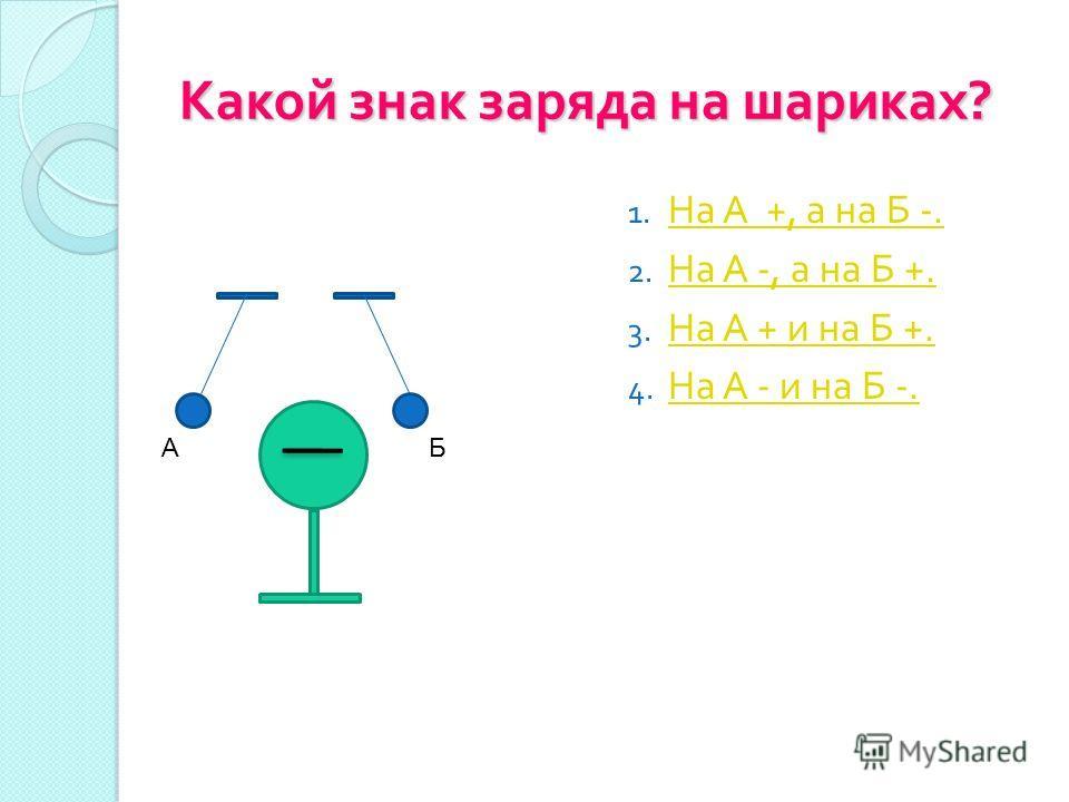 Какой знак заряда на шариках ? АБ 1. На А +, а на Б -. На А +, а на Б -. 2. На А -, а на Б +. На А -, а на Б +. 3. На А + и на Б +. На А + и на Б +. 4. На А - и на Б -. На А - и на Б -.