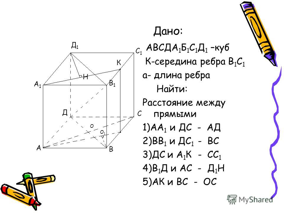 Дано: АВСДА 1 Б 1 С 1 Д 1 –куб К-середина ребра В 1 С 1 а- длина ребра Найти: Расстояние между прямыми 1)АА 1 и ДС - АД 2)ВВ 1 и ДС 1 - ВС 3)ДС и А 1 К - СС 1 4)В 1 Д и АС - Д 1 Н 5)АК и ВС - ОС А В С Д А1А1 В1В1 С1С1 Д1Д1 О К Н О1О1